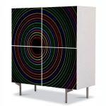 Comoda cu 4 Usi Art Work Abstract Concentric curcubeu, 84 x 84 cm