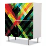 Comoda cu 4 Usi Art Work Abstract Intersectie, 84 x 84 cm