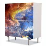 Comoda cu 4 Usi Art Work Abstract Furtuna, 84 x 84 cm