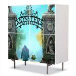 Comoda cu 4 Usi Art Work pentru Copii Animatie Monster University 2013 , 84 x 84 cm