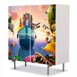 Comoda cu 4 Usi Art Work pentru Copii Animatie Cloudy With a Chance of Meatballs 2 Revenge of the Leftovers , 84 x 84 cm