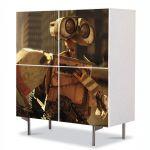 Comoda cu 4 Usi Art Work pentru Copii Animatie Wall E In oras , 84 x 84 cm