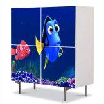 Comoda cu 4 Usi Art Work pentru Copii Animatie Finding Dory , 84 x 84 cm