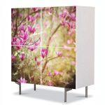 Comoda cu 4 Usi Art Work Flori Magnolie, 84 x 84 cm