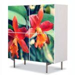 Comoda cu 4 Usi Art Work Flori Orhidee portocalii, 84 x 84 cm
