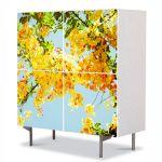 Comoda cu 4 Usi Art Work Flori Multe flori galbene, 84 x 84 cm