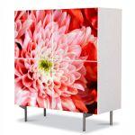 Comoda cu 4 Usi Art Work Flori Crizantema roz, 84 x 84 cm
