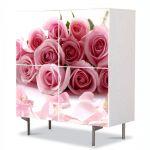 Comoda cu 4 Usi Art Work Flori Buchet de trandafiri rozalii, 84 x 84 cm