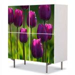Comoda cu 4 Usi Art Work Flori Lalele, 84 x 84 cm