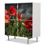 Comoda cu 4 Usi Art Work Flori Maci inainte de furtuna, 84 x 84 cm