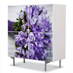 Comoda cu 4 Usi Art Work Flori Buchet de flori violet, 84 x 84 cm