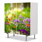 Comoda cu 4 Usi Art Work Flori Flori si albinute, 84 x 84 cm