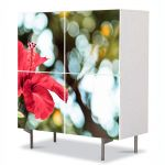Comoda cu 4 Usi Art Work Flori Floare firava, 84 x 84 cm