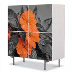 Comoda cu 4 Usi Art Work Flori Flori cu nuante portocalii, 84 x 84 cm