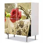 Comoda cu 4 Usi Art Work Flori Trandafiri in cana, 84 x 84 cm