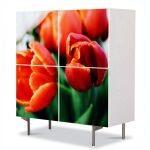 Comoda cu 4 Usi Art Work Flori Portocaliu puternic, 84 x 84 cm