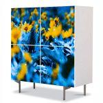 Comoda cu 4 Usi Art Work Flori Flori cu frunze albastre, 84 x 84 cm