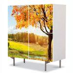 Comoda cu 4 Usi Art Work Peisaje Toamna pe campie, 84 x 84 cm