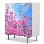Comoda cu 4 Usi Art Work Peisaje De la roz la albastru, 84 x 84 cm