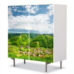 Comoda cu 4 Usi Art Work Peisaje Peste dealuri, 84 x 84 cm