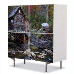 Comoda cu 4 Usi Art Work Peisaje Moara de apa, 84 x 84 cm