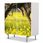 Comoda cu 4 Usi Art Work Peisaje Floricele sub copaci, 84 x 84 cm