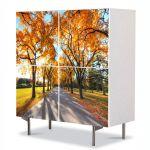 Comoda cu 4 Usi Art Work Peisaje Umbre de copaci, 84 x 84 cm