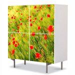 Comoda cu 4 Usi Art Work Peisaje Maci, 84 x 84 cm
