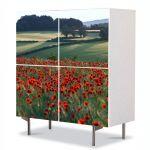 Comoda cu 4 Usi Art Work Peisaje Maci la orizont, 84 x 84 cm