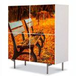 Comoda cu 4 Usi Art Work Peisaje Banci in parc, 84 x 84 cm