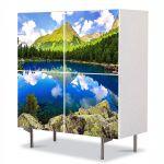 Comoda cu 4 Usi Art Work Peisaje Peisaj montan, 84 x 84 cm