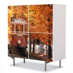 Comoda cu 4 Usi Art Work Peisaje Tramvai de toamna, 84 x 84 cm