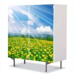 Comoda cu 4 Usi Art Work Peisaje Rase pe campie, 84 x 84 cm
