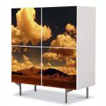 Comoda cu 4 Usi Art Work Peisaje Peisaj portocaliu, 84 x 84 cm