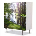 Comoda cu 4 Usi Art Work Peisaje Luciul apei, 84 x 84 cm