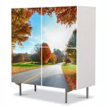 Comoda cu 4 Usi Art Work Peisaje Tunelul toamnei, 84 x 84 cm