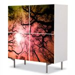 Comoda cu 4 Usi Art Work Peisaje Crengute, 84 x 84 cm