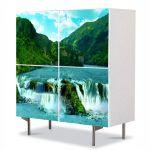 Comoda cu 4 Usi Art Work Peisaje Cascade, 84 x 84 cm