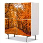Comoda cu 4 Usi Art Work Peisaje Galben intens, 84 x 84 cm