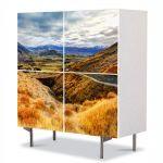 Comoda cu 4 Usi Art Work Peisaje Drum pe munte, 84 x 84 cm