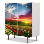 Comoda cu 4 Usi Art Work Peisaje Linie de flori, 84 x 84 cm