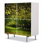 Comoda cu 4 Usi Art Work Peisaje Copaci verzi, 84 x 84 cm