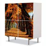Comoda cu 4 Usi Art Work Peisaje Tunel de toamna, 84 x 84 cm