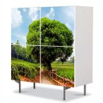 Comoda cu 4 Usi Art Work Peisaje Coroana perfecta, 84 x 84 cm