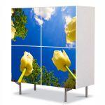 Comoda cu 4 Usi Art Work Peisaje Lalele spre cer, 84 x 84 cm