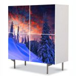 Comoda cu 4 Usi Art Work Peisaje Rosu cerului, 84 x 84 cm