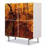 Comoda cu 4 Usi Art Work Peisaje Ruginiu, 84 x 84 cm