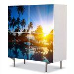 Comoda cu 4 Usi Art Work Peisaje Exotic, 84 x 84 cm