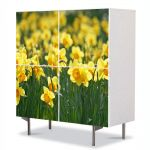 Comoda cu 4 Usi Art Work Peisaje Floricele galbene, 84 x 84 cm