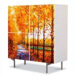 Comoda cu 4 Usi Art Work Peisaje Drum printre copaci, 84 x 84 cm